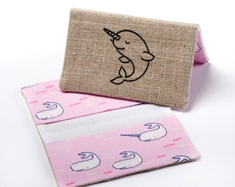 Fabric Business Card Holder, Womens Card Holder, Credit Card Case in Pink Narwhal Fabric