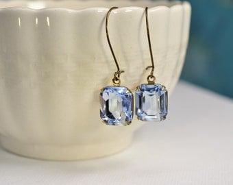 Aquamarine Earrings, Light Blue Rhinestone Dangle Earrings, Light Sapphire Crystal Brass Earrings, Blue Bridesmaid, Cinderella Wedding E1364