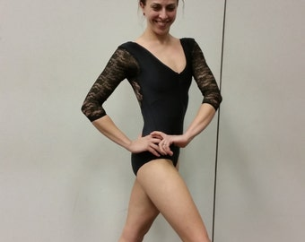 MADE TO ORDER 3/4 Sleeve Custom Leotard w/Zipper