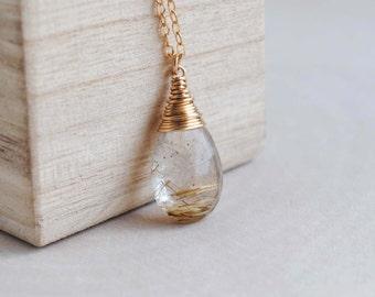 Rutilated Quartz Necklace, Golden Rutilated Quartz Necklace, Rutilated Quartz Pendant Necklace, Gold Rutilated Quartz Necklace