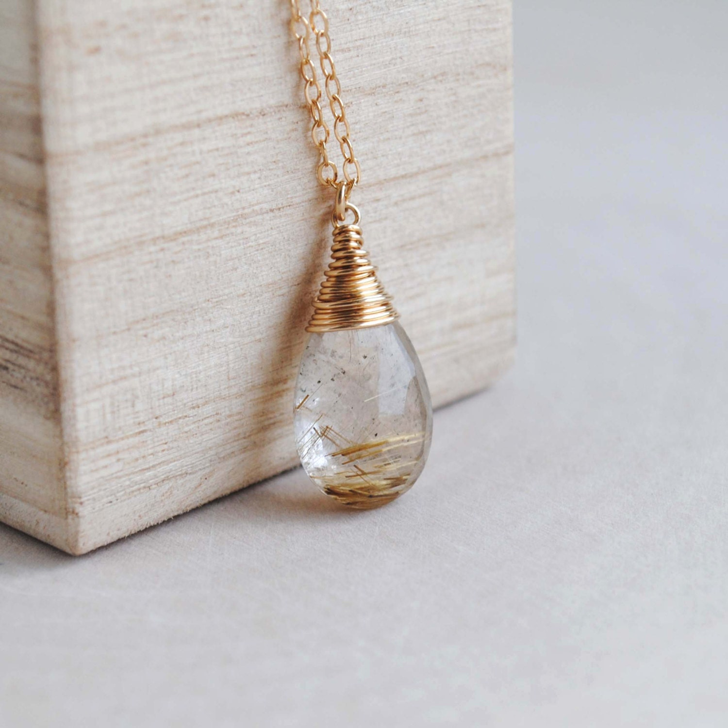 Rutilated quartz necklace golden rutilated quartz necklace for Golden rutilated quartz jewelry
