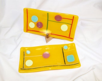 Handmade Fused Glass Plate - Fused Glass Sushi Plate Set - Yellow Fused Glass Sushi Plates