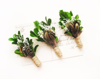Woodland boutonniere, Rustic wedding, Men's lapel pin, Groom buttonhole, Groomsmen corsage - SAWYER