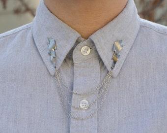 Silver Lightning Bolt Collar Clip Collar Chain