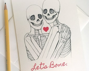 Skeleton Valentine Card - Let's Bone -Science Valentine- Geeky Valentine Card - Anatomy Valentine -Boyfriend Romance Card - Anniversary Card
