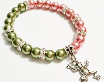 Pink and Green Frog Charm Bracelet - Pearl Frog Bracelet - Frog Stretch Bracelet - Frog Jewelry  - Christmas Gift - Animal Jewelry