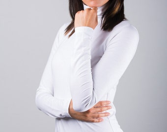 White Heather Jersey High Neck Turtleneck Jumper Sweater Tunic Blouse Top Size XS S M L 0 2 4 6 8