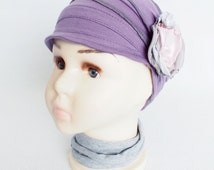 Children chemo cap for cancer hair loss Lightweight cotton hat Soft chemo hat for cancer patients Handmade violet Cancer full headcover