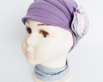 Children chemo cap for cancer hair loss Lightweight summer hat Soft chemo hat for cancer patients Handmade violet Cancer full headcover
