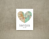 """8x10"""" Map of Our Hearts - Personalized Art Print (UNFRAMED)  - Makes a wonderful wedding, anniversary, engagement or housewarming gift!"""