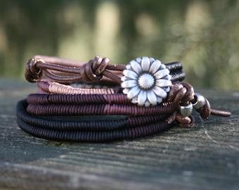 Wrap Bracelet- Macrame Wrap Bracelet- Boho Bracelet- Bohemian Jewelry- Leather Wrap- Beaded Bracelet- Gift For Her- Herringbone Bracelet