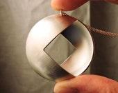 Round Silver Pendant | Geometric Necklace | Square Silver Pendant | Silver Chain | Mandala | Geometric Silver Pendant | Geometric Symbolism
