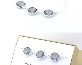 Charcoal Gray / Silver Triple Circle Bracelet - Charcoal Bridesmaid Gift Jewelry - Grey Wedding Jewelry - I'm such a lucky bride BB3