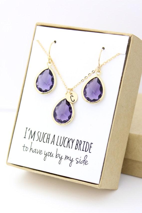 amethyst gold teardrop necklace & earring set