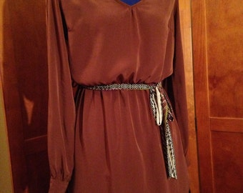 Seventies Silky Polyester Chocolate Brown Tunic Shirt