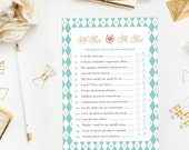 Kentucky Derby He Said, She Said Game, Bridal Shower Printable Game, Couples Shower, Bachelorette Party Games, According to Groom and Bride