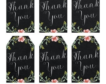 printable thank you tags, chalkboard thank you tags, digital thank you tags, floral thank you tags, you print, digital download