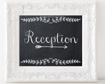 wedding reception sign, digital wedding sign, chalkboard wedding sign, rustic reception sign, 8 x 10, digital download,  you print x 2