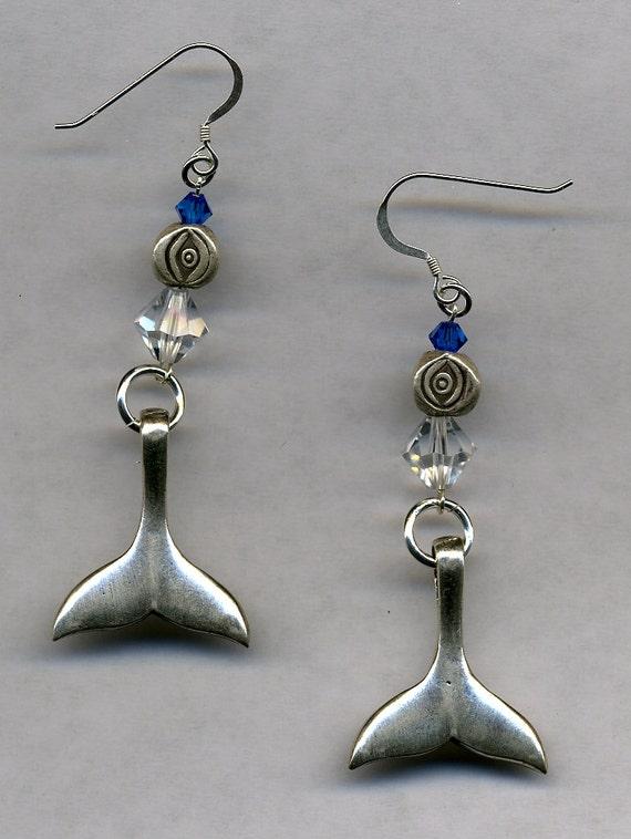 sterling silver whale earrings