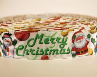 "5 yards of 7/8 inch ""Merry Christmas"" grosgrain ribbon"
