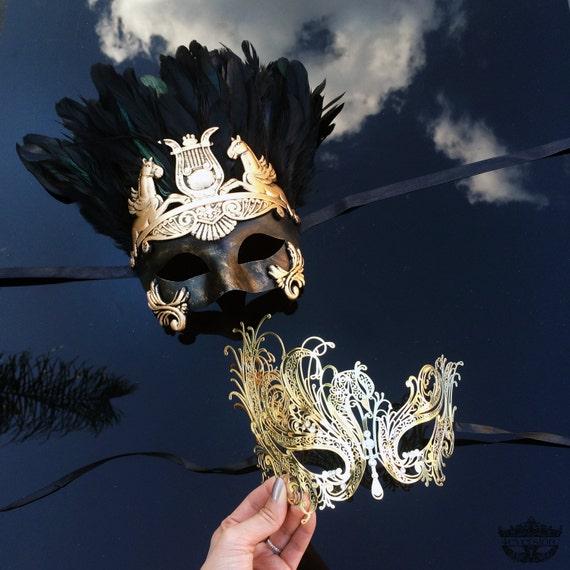 Couples Masquerade Mask Roman Greek God Goddess Set By