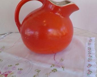 Vintage Water Ball Jug Vibrant Orange Hall China