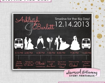 """Wedding Day Timeline Card """"Chalk"""" (Printable File Only) Coordinate to Your Wedding Colors Ceremony Shuttle Cut The Cake First Dance"""