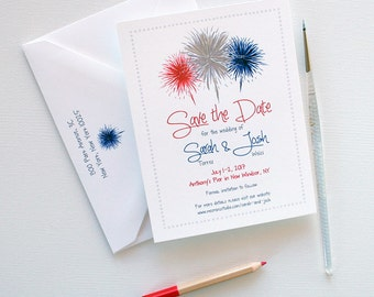 Fourth of July Wedding Save the Dates, July 4th Wedding Save the Date, Fireworks Illustration