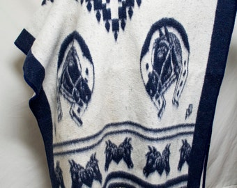 Poncho top, Mexican poncho,Blanket poncho, Horses,Large