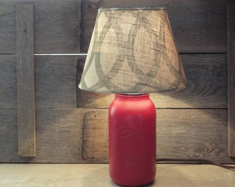 Rustic Mason Jar Decor, Red Lamp, Mason Jar Lamp, Entryway Lamp, Ball Jar Lighting, Farmhouse lighting, Lamps, Glass Jar Lamp, Red Mason Jar