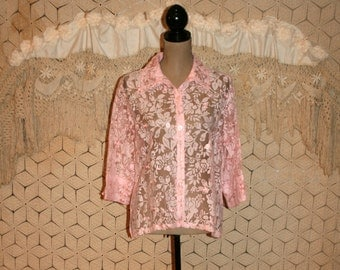 Pink Lace Blouse Sheer Burnout Blouse 3/4 Sleeve Boho Top Romantic Floral Blouse Pink Top Pink Blouse Size 12 Size 14 Large Womens Clothing