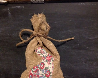 Vintage Fabric Burlap Easter Bag *Candy Bag* *Gift Card Bag* *Easter Bunny*  *Easter Table Decor*