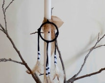"""Easter Candle,""""Dreamcatcher"""",suitable for a boy and a girl, Large White candle,Black and Brown, Lampada, Orthodox celebration"""