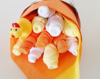 Baby Washcloth Bouquet, Gender Neutral Baby Gift, Washcloth Flowers, Baby Shower Gift, Rubber Ducky Baby Shower, Rubber Ducky Gift