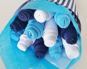 Baby Washcloth Bouquet, Baby Boy Baby Gift, Washcloth Flowers, Baby Shower Gift, Its A Boy Baby Shower, Gift for a baby boy