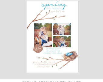 INSTANT DOWNLOAD, Spring Mini Session Photography, Marketing Template, Bird Nest, Watercolor, Branch, Photography Marketing Template
