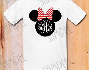 T-shirt Disney Monogram Minnie Iron On Transfer Red Chevron Printable Birthday Girl digital download Personalized Minnie Head DisneyWorld