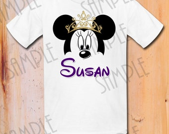 T-shirt Disney Minnie Mouse ears Iron On Transfer Printable Princess Queen Crown digital download Personalized Minnie Birthday Party shirt