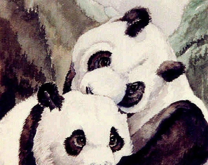 ACEO-LIMITED EDITION Print: pandas, art, 2.50 x 3.50 inches, 90 lb watercolor paper, nature,