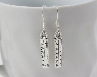 Silver Ruler Earrings - Teacher Jewelry, Thank You Gift, Teacher Appreciation Gift