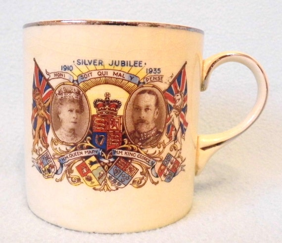 Vintage Collectible Coffee Mug, Silver Jubilee of King George V and Queen Mary, 1935, Great Collectible, English Royalty, Decorative Piece