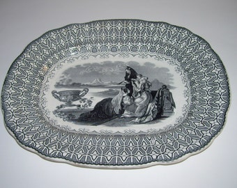 Antique Black Transferware Platter Ridgway Beauties Pattern