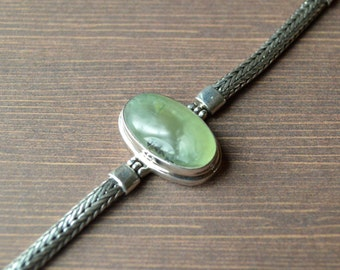 Oval Shaped Prehnite Green Bracelet