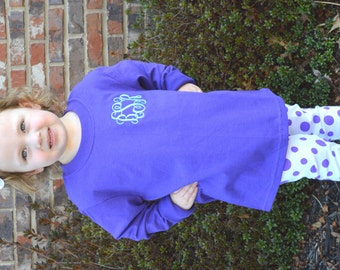 Little Girls Monogrammed Long Sleeve T-Shirt
