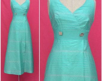Vintage evening dress, 1960s green / silver full length empireline evening gown, elegant eveningwear / party / prom dress, sixties mod small
