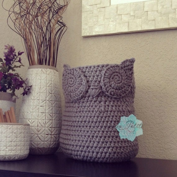 Crochet Owl Basket : Crochet Owl Basket, Home Decor Owl Basket, Crochet Owl Basket, Owl ...