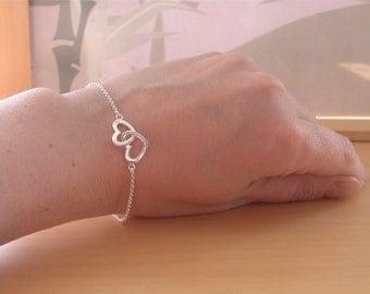925 Silver Heart Bracelet/SterlingSilver Double Heart Bracelet/Heart Jewelry/Heart Jewellery/Heart Bracelet/Bridal Bracelet/Wedding Bracelet