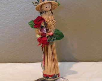 "Vintage Handcrafted Bamboo Asian Lady Figure on Abalone Shell 8"" Tall"