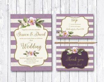 Floral Wedding Invitation Set Purple Wedding Invitation Suite, Gold & Lavender Stripes Wedding Invite, Lilac Wedding Invitation Printable