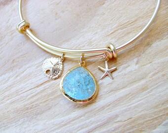 Aquamarine Bangle Gold Sand dollar Starfish Bangle Aquamarine Jewlery Beach Wedding Jewelry Bridesmaid set Starfish Jewelry march birthstone
